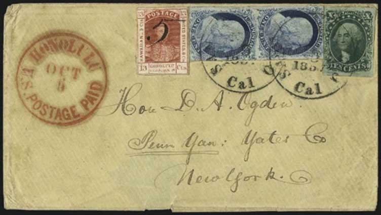 Honolulu U.S. Postage Paid Oct. 6 (1857) CDS, U.S. stamps cancelled by SF Cal Nov. 5, 1857 CDS