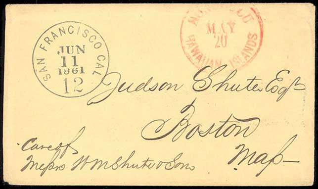 Hawaii, Honolulu, Hawaiian Islands, May 20, CDS on cover to Boston, Mass