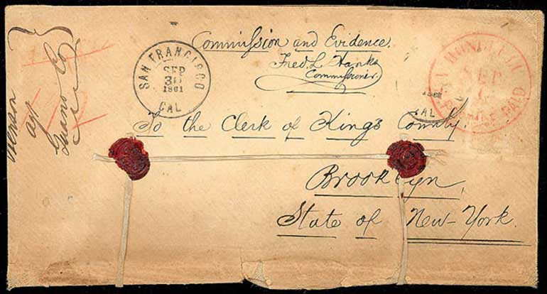 Hawaii, Honolulu, U.S. Postage Paid, Sep 1 (1861) ribbon sealed legal size linen to N.Y. - official usage