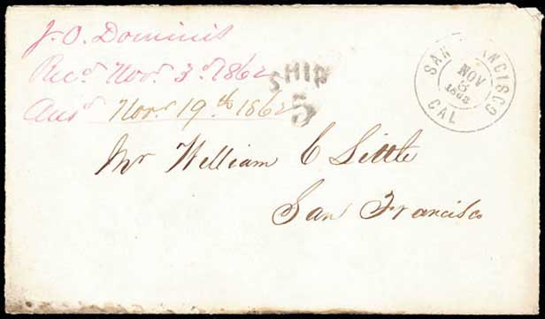 San Francisco, Nov 3, 1862, DCDS (device + Ship marking)