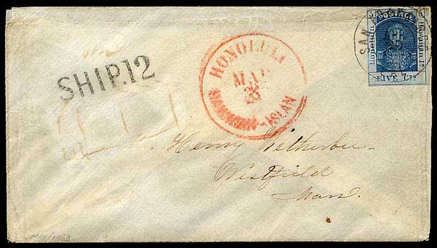 San Francisco, Apr 19, 1863 DCDS, used as obliterator (device + Ship marking)