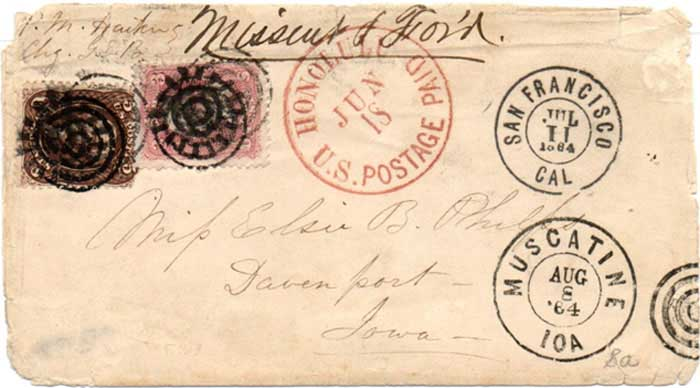 Honolulu U.S. Postage Paid Jun. 18 (1864) CDS to Davenport Iowa - San Francisco, Jul. 11, 1864 DCDS