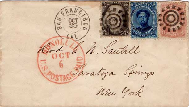 Honolulu U.S. Postage Paid Oct. 6 CDS OCT 25 SF DCDS, year is 1866 based on sailing dates