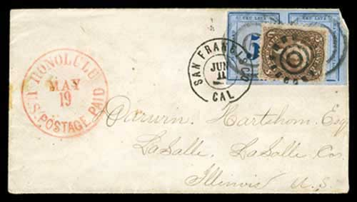 Honolulu U.S. Postage Paid May 19 CDS (1866)
