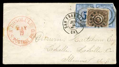 Honolulu U.S. Postage Paid May 19 CDS (1866)