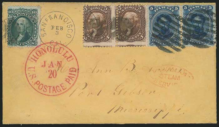 "SF, DCDS Mar 30, 1864 and ""DUE 4"" handstamp for local delivery"