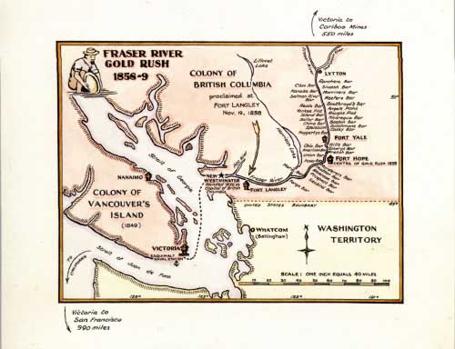 British Columbia & Vancovers Island Washington Territory Map