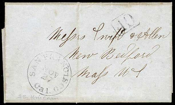 "Lahaina Nov 1, 1849, dateline on whaling letter to Mass., SF Nov 27 CDS, boxed ""40"" rate handstamp"