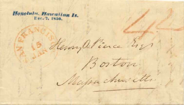 "Nov 1850 letter from Honolulu, SF ""Blank"" CDS, blue straightline Honolulu Hawaiian Is postmark"