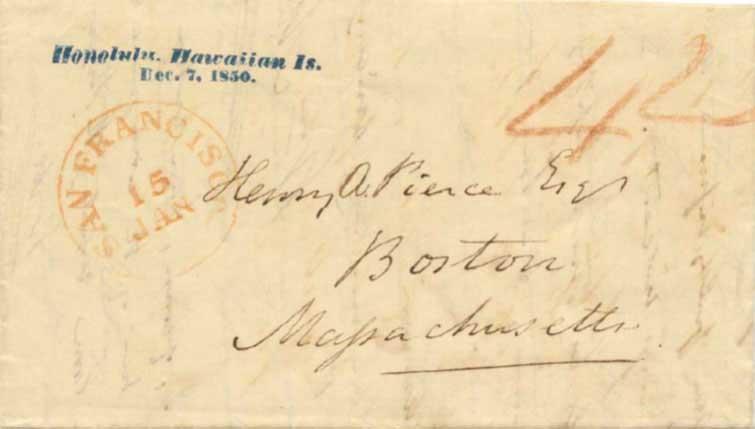 "Nov 1850 letter from Honolulu, SF ""Blank"" CDS, blue straightline Honolulu Hawaiian Is postmark"