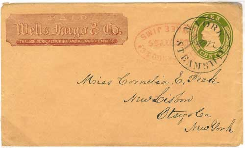 Wells Fargo red franked from Yankee Jims. Entered the mails in New York City with steamship postmark for New Lisbon, New York.