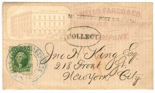 "Wells Fargo illustrated cover of San Francisco office, from their agent in San Francisco to New York City. Delivered in New York with Mc Intire's Post 2 Maiden Lane handstamp and ""Collect"". Handled entirely outside the mails."