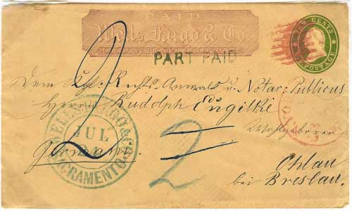 Wells Fargo red franked entire used from Sacramento. Entered the mails in New York City as short paid cover to Germany.