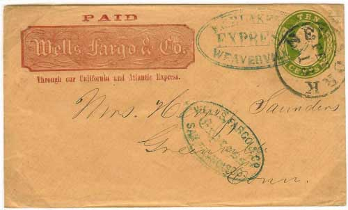 By F.W. Blake & Cos Express Weaverville from the mines connecting with Wells Fargo. By Wells Fargo San Francisco to New York City where it entered mails to Connecticut.