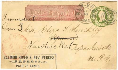 Salmon River & Nez Perces Express 75c franked entire from the mines to Walla Walla, Washington Territory. By Wells Fargo & Co. to New York City where it entered mails for Hyannis and forwarded to Nantucket.