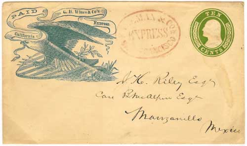 San Francisco to Manzanillo, Mexico by Wines Express. One of the most ornate of the printed franks. Handled entirely outside of the mails to a foreign destination.