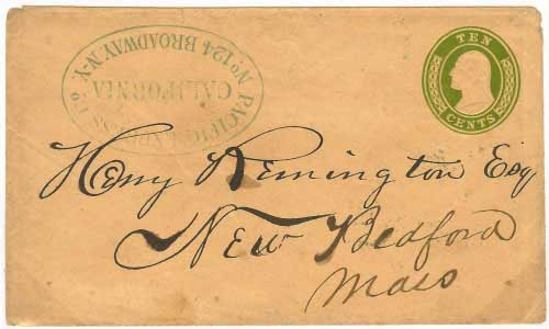 Carried by Pacific Express from California with New York Office handstamp. Handled entirely outside of the mails.