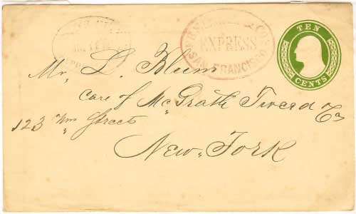 Freeman & Co's Express San Francisco to New York City Delivered in New York City by Boyd's City Express Post with their date stamp. Handled entirely outside of the mails.