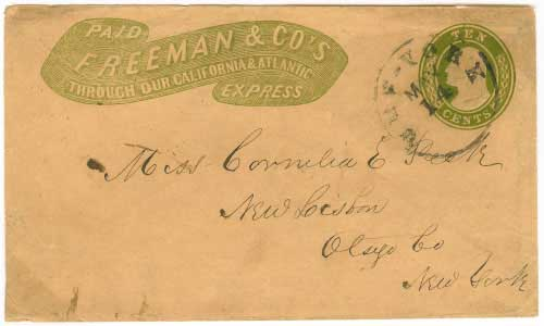 Freeman & Co's Express green franked entire to New York City. Placed in the mails in New York City by Freeman & Co's Express.