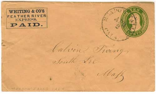 Whiting & Co's Feather River Express franked entire from the mines. Entered the mails at Meadow Falls for Massachusetts.