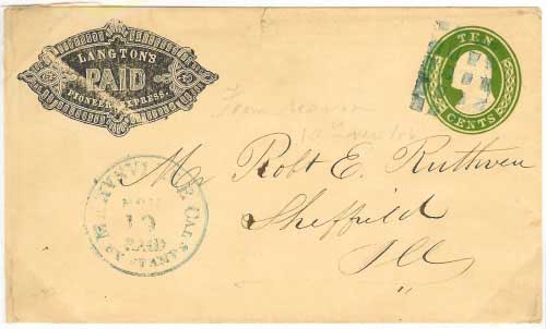 Whiting & Co's Feather River Express franked entire, plus supplemental franking, to France. Entered the mails at Quincy, California to New York and France.