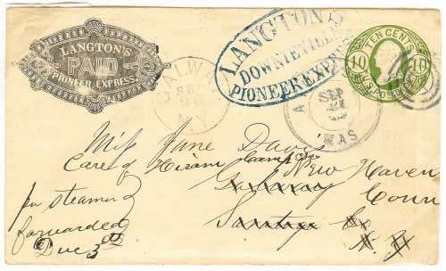 Langton's Express franked entire from Downieville, given to railway route agent. Overland to Atchison, Kansas where it entered the mails to New York, forwarded to Connecticut.