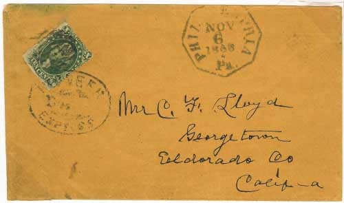 Philadelphia by mails to Georgetown, California from the post office to the mines by Pioneer Express.