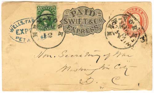Swift & Co. Express Geyersville franked 3c entire, plus supplemental franking, to Petaluma. Conjunctive usage with Wells Fargo Petaluma to New York City where it entered mails to Washington.