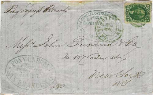 6 March 1860 San Francisco to New York City by Pony Express, $2.50 per quarter ounce rate. Dated blue running pony and undated blue COCPP oval handstamps, entered mails at St. Joseph.