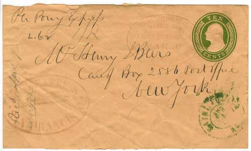 20 March 1860 San Francisco to New York City by Pony Express, $2.50 per quarter ounce rate. Dated red running pony and dated red COCPP oval handstamps, entered mails at St. Joseph.