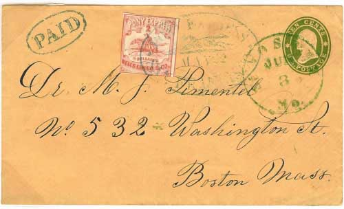 "22 May 1861 San Francisco by Pony Express, $2.00 per half ounce rate. $2 Pony Express adhesive plus Wells Fargo oval ""Paid"" handstamp, entered mails at St. Joseph to Boston."
