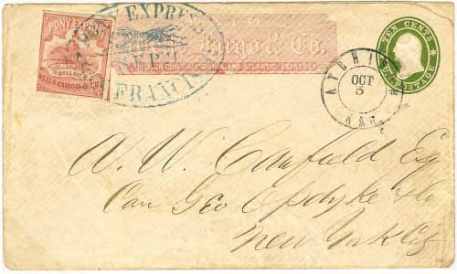 11 September 1861 San Francisco by Pony Express, $1.00 per half ounce rate. $1 Pony Express adhesive plus red franked entire, entered mails at Atchison, Kansas to New York City