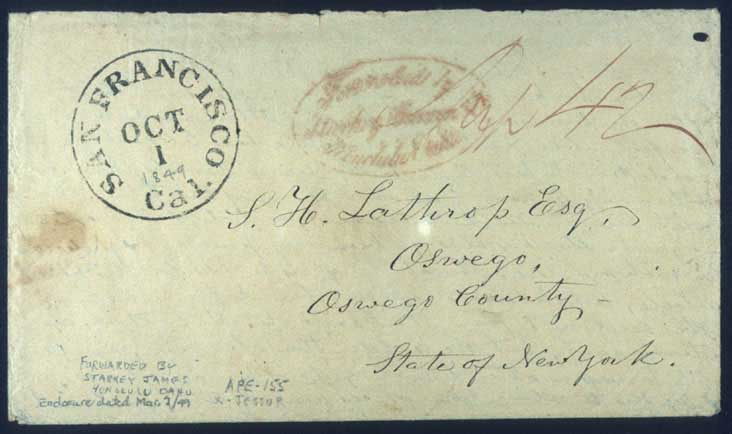 Starkey, Janion & Co. forwarders red oval handstamp SF Oct. 1, 1849 CDS