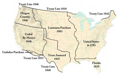 Figure 1-1. Map of the United States showing acquired territories.