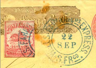 Red Pony stamp was not available until March 1864. This does not correspond with Sept 21 1862 manuscript notes found on the cover.