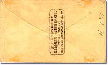 A government envelope with a Bamber and Blake hand stamp on the front of the envelope and a Bamber hand stamp applied to the back. Addressed to San Francisco, California.