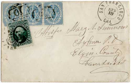 Figure 5 - September 1866 cover from Williams Creek, BC to Aylmer, Canada West (Michael Perlman collection).