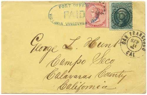 Figure 6 - September 1867 cover from Victoria, BC to California.