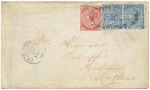 Figure 7 - February 22, 1868 cover from Victoria, BC to Scotland.