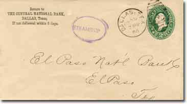 A government 1887 series envelope with a Central National Bank of Dallas, Texas. corner card. Addressed to El Paso National Bank, El Paso, Texas.