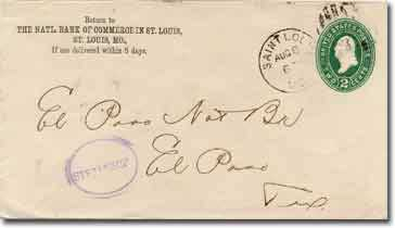 A government 1887 series envelope with a Central National Bank of Commerce in Saint Louis, Saint Louis, Mo. corner card. Addressed to El Paso National Bank, El Paso, Texas.