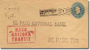 A government 1887 series envelope addressed to El Paso National Bank, El Paso, Texas.