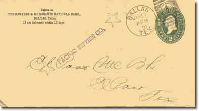 A government 1887 series envelope addressed to the El Paso National Bank, El Paso, Texas. Front