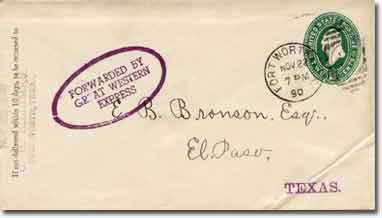 A government 1887 series envelope addressed to the E. B. Bronson, El Paso, Texas. Front