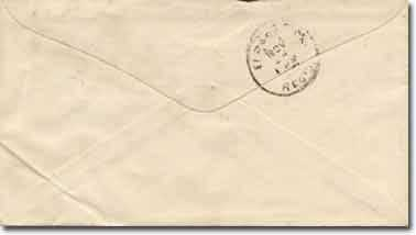 A government 1887 series envelope addressed to the E. B. Bronson, El Paso, Texas. Back