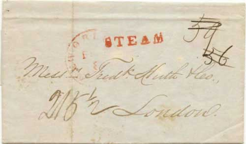 Figure 6-7. Letter datelined at San Francisco on January 1, 1850 and carried by the PMSS Oregon to Panama and the USMSC Falcon to New Orleans.