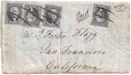 Figure 6-8. Letter postmarked at Philadelphia on October 1, 1849 and carried by the USMSC Ohio to Havana and the PMSS Oregon to San Francisco.