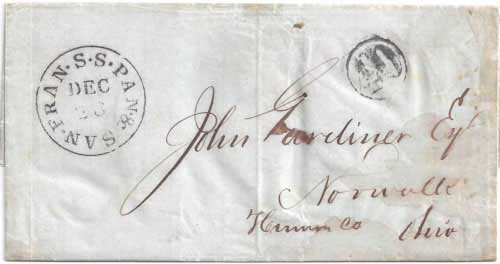 Figure 6-10. Letter postmarked December 23, 1850 on board the PMSS California and then carried by the USMSC Falcon to New York.