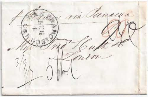 Figure 6-11. Letter postmarked at San Francisco on August 1, 1849 and carried by the PMSS California to Panama, the Empire City to New York, and the Cunarder Niagara to Europe.