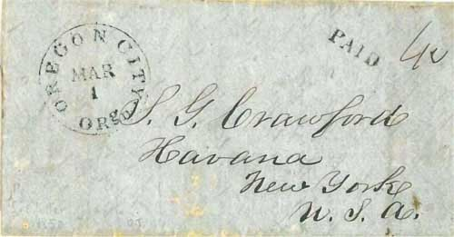 Figure 6-14. Letter posted at Oregon City on March 1, 1850 and carried via San Francisco and Panama to New York.